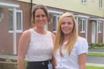 Close up of sales staff outside show home
