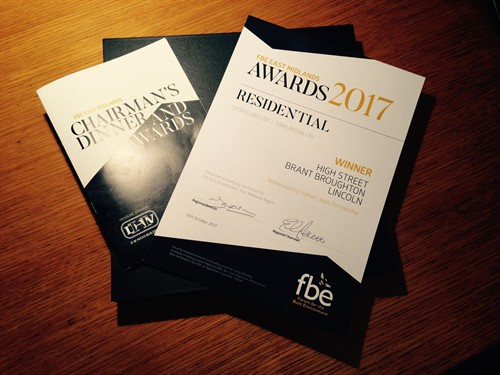 Winners Of Best Residential Development  At The East Midlands FBE (Fourm For The Built Environment ) Awards 2017